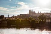 View of Prague castle on sunset — Stock Photo