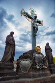 Statue on Charles Bridge in Prague, Czech Republic — Stock Photo