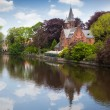 Spring landscape in Love lake - Bruges, Belgium - Stok fotoraf