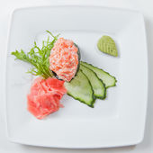 Sushi on plate isolated on white — Стоковое фото
