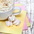 Hot chocolate with marshmallows and cream on wooden background — Stock Photo