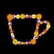 Decorative cup symbol from color flowers — Stock Photo #3384179