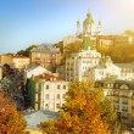 Kyiv in autumn, view of Andriyivsky uzviz — Stock Photo #34254271