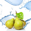 Fresh water splash on pears isolated on white — Stock Photo