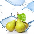 Fresh water splash on pears isolated on white — Stock fotografie