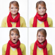 Woman emotions collage isolated on white — Stock Photo