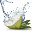 Stock Photo: Green coconut with water splash isolated on white
