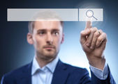 Man touch search button — Stock Photo
