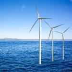Wind generators turbines in the sea — Stock Photo