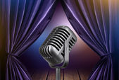 Stage with open curtains and microphone — Foto Stock