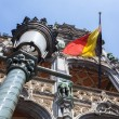 Belgium flag on Grand Place in Brussels — Stock Photo