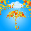 Umbrella from autumn leaves under cloud and rain — Stock Photo