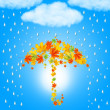 Umbrella from autumn leaves under cloud and rain — Stock Photo #35139309