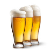 Beer in glasses isolated on white background — Zdjęcie stockowe