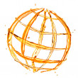 Abstract globe from orange water splashes isolated on white — Photo