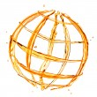 Abstract globe from orange water splashes isolated on white — Stockfoto