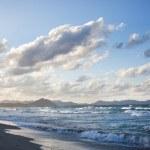 Sunset on beach of Can Picafort, Mallorca, Balearic Islands, Spa — Stock Photo