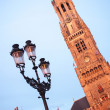 Belfry bell tower on sunset in Bruges, Belgium — Stock Photo