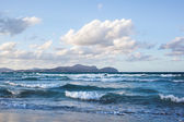 Waves on beach of Can Picafort, Mallorca, Balearic Islands, Spai — Stock Photo