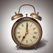 Brown old style alarm clock with shadow — Stock Photo