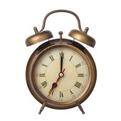 Brown old style alarm clock isolated on white — Stock Photo