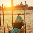 Sunset view of Venice with gondola on Grand Canal — Stock Photo