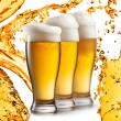 Beer in glasses isolated on white background — Stock Photo