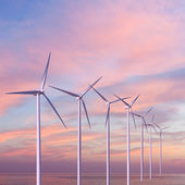 Wind generators turbines in the sea on sunset — Stock Photo