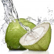 Splash of water on green coconut isolated on white — Foto Stock
