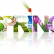 Spring word collage made of different photos isolated on white — 图库照片