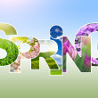 Spring word collage made of different photos — Stock Photo
