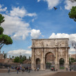 Stock Photo: Rome, Italy - 17 october 2012: Tourists walking near Constantine