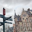 Stock Photo: Tourist signpost in center of Brussels, Belgium