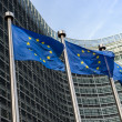Stock Photo: EuropeUnion flags in front of Berlaymont building (Europe