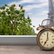 View of Paris and Eiffel tower from window with alarm clock — Stock Photo #42047351