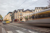 Tramway in motion on the street of Brussels near The Sablon Squa — Stock Photo