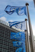 European Union flags in front of the Berlaymont building (Europe — Stock Photo