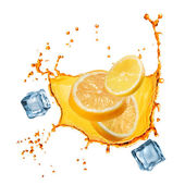 Flying slices of orange and lemon in juice splash isolated on wh — Stockfoto