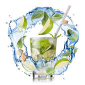 Mohito - water splash with mint, lime and sugar isolated on whit — Stock Photo