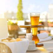 Kwak beer on the served table. Outdoors photo. — Stock Photo