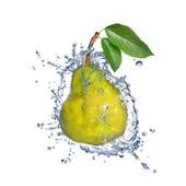 Yellow pear with water splash isolated on white — Stock Photo