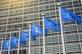 European Union flags in front of the Berlaymont — Stock Photo