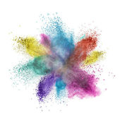 Color powder explosion isolated on white — Stock Photo