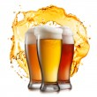 Different beer in glasses with splash isolated — Stock Photo