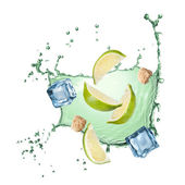 Water splash with lime, ice and sugar — Stock Photo
