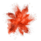 Red powder explosion isolated on white background — Stock Photo