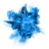 Blue powder explosion isolated on white — ストック写真