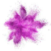 Pink powder explosion isolated on white — Stock Photo
