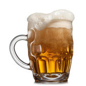 Beer in glass isolated on white — Stock Photo