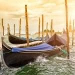 Gondolas on sunset, Grand Canal in Venice — Stock Photo #50986709